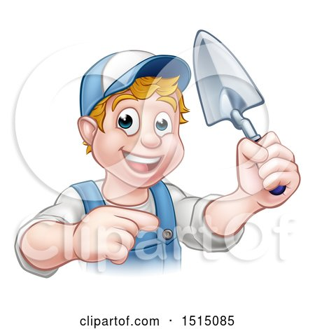 Clipart of a White Male Mason Worker Holding a Trowel and Pointing - Royalty Free Vector Illustration by AtStockIllustration