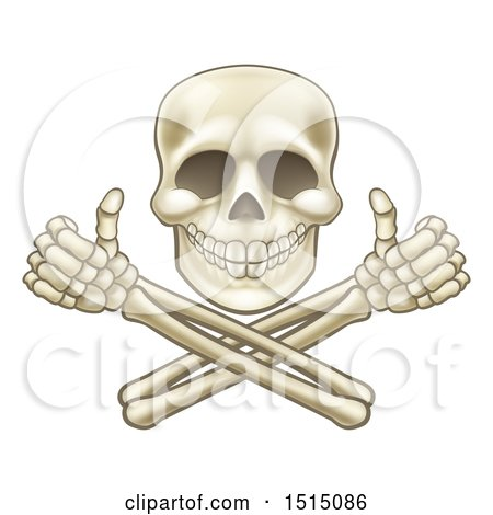 Clipart of a Cartoon Human Skull and Crossbone Arms with Thumbs up - Royalty Free Vector Illustration by AtStockIllustration