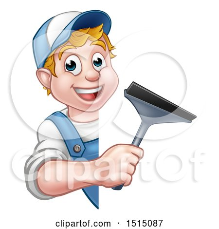 Clipart of a Cartoon Happy White Male Window Cleaner Holding a Squeegee Around a Sign - Royalty Free Vector Illustration by AtStockIllustration