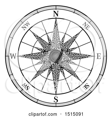 Clipart of a Black and White Map Compass Rose - Royalty Free Vector Illustration by AtStockIllustration