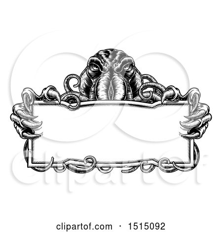 Clipart of a Cthulhu Octopus Holding a Blank Sign - Royalty Free Vector Illustration by AtStockIllustration