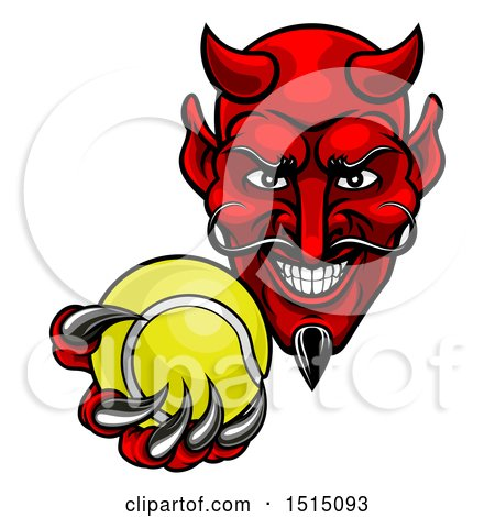 Clipart of a Grinning Evil Red Devil Holding out a Tennis Ball in a Clawed Hand - Royalty Free Vector Illustration by AtStockIllustration