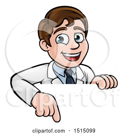 Clipart of a Happy White Male Scientist Pointing down over a Sign - Royalty Free Vector Illustration by AtStockIllustration