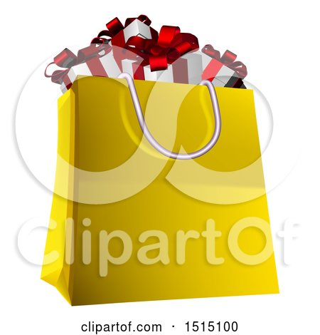 Clipart of a Shopping Bag Full of Christmas Gifts - Royalty Free Vector Illustration by AtStockIllustration