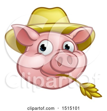 Clipart of a Happy Pig Mascot Face Wearing a Straw Hat and Chewing on Straw - Royalty Free Vector Illustration by AtStockIllustration