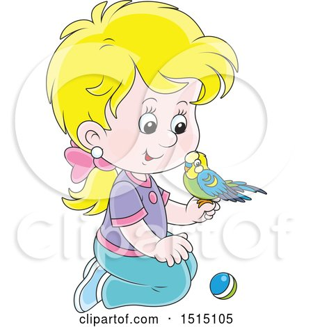 Clipart of a Blond White Girl Kneeling with Her Pet Budgerigar - Royalty Free Vector Illustration by Alex Bannykh
