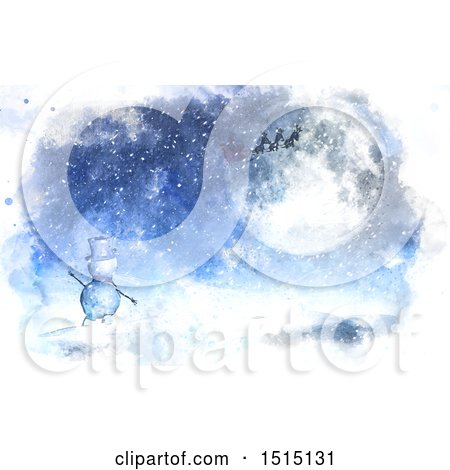 Clipart of a Watercolor Snowman Waving to a Christmas Santa Flying His Sleigh over a Winter Landscape - Royalty Free Illustration by KJ Pargeter