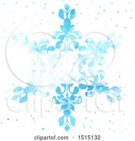 Clipart of a Blue Watercolor Snowflake on White - Royalty Free Vector Illustration by KJ Pargeter