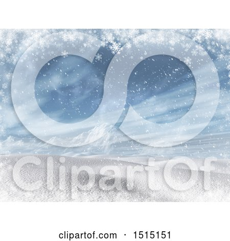 Clipart of a 3d Snowy Winter Landscape - Royalty Free Illustration by KJ Pargeter