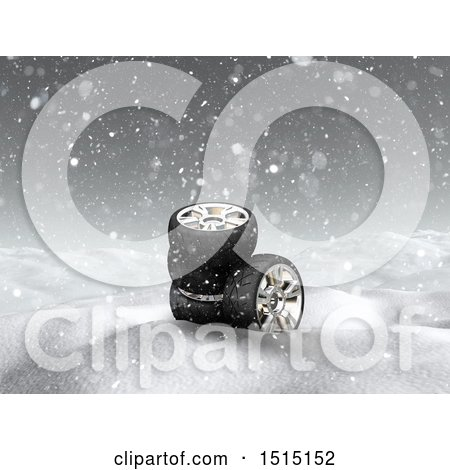 Clipart of a 3d Snowy Winter Landscape with Tires - Royalty Free Illustration by KJ Pargeter