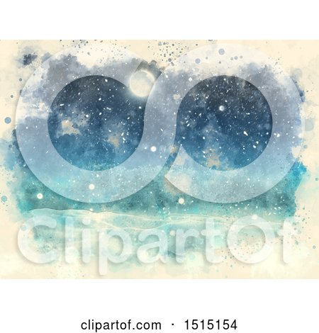 Clipart of a Watercolor Snowy Winter Night Landscape - Royalty Free Illustration by KJ Pargeter