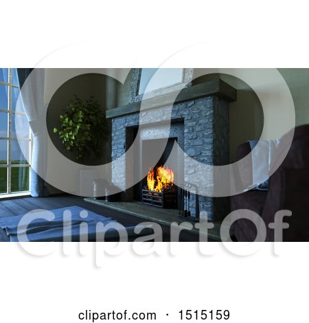 Clipart of a 3d Hearth with a Burning Fire - Royalty Free Illustration by KJ Pargeter