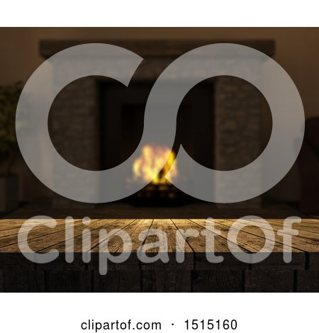 Clipart of a 3d Tablet Op with a Blurred Hearth with a Burning Fire - Royalty Free Illustration by KJ Pargeter
