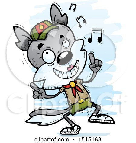 Clipart of a Happy Dancing Female Wolf Scout - Royalty Free Vector Illustration by Cory Thoman