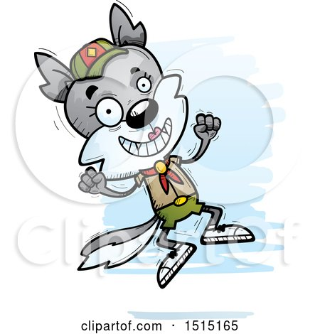 Clipart of a Jumping Female Wolf Scout - Royalty Free Vector Illustration by Cory Thoman