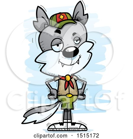 Clipart of a Confident Male Wolf Scout - Royalty Free Vector Illustration by Cory Thoman