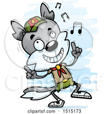 Clipart of a Happy Dancing Male Wolf Scout - Royalty Free Vector Illustration by Cory Thoman