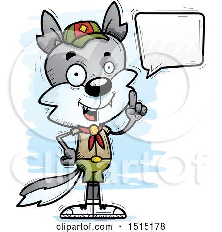 Clipart of a Talking Male Wolf Scout - Royalty Free Vector Illustration by Cory Thoman