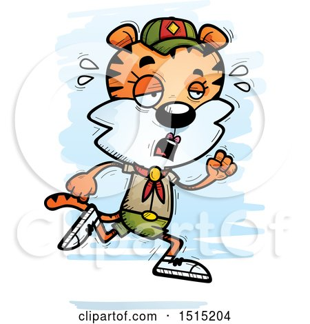 Clipart of a Tired Running Female Tiger Scout - Royalty Free Vector Illustration by Cory Thoman