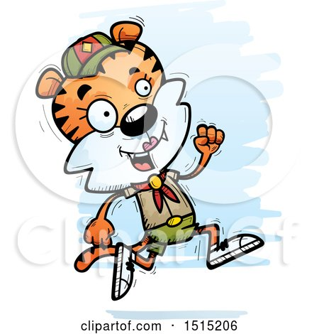 Clipart of a Running Female Tiger Scout - Royalty Free Vector Illustration by Cory Thoman