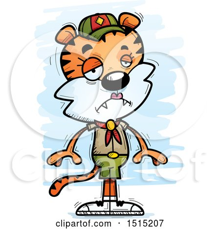 Clipart of a Sad Female Tiger Scout - Royalty Free Vector Illustration by Cory Thoman