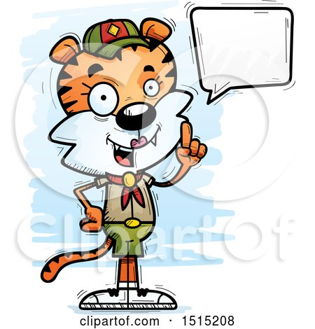Clipart of a Talking Female Tiger Scout - Royalty Free Vector Illustration by Cory Thoman