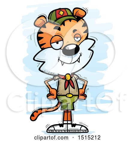 Clipart of a Confident Male Tiger Scout - Royalty Free Vector Illustration by Cory Thoman