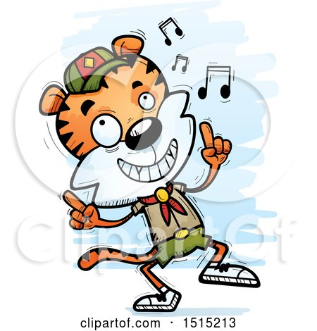 Clipart of a Happy Dancing Male Tiger Scout - Royalty Free Vector Illustration by Cory Thoman