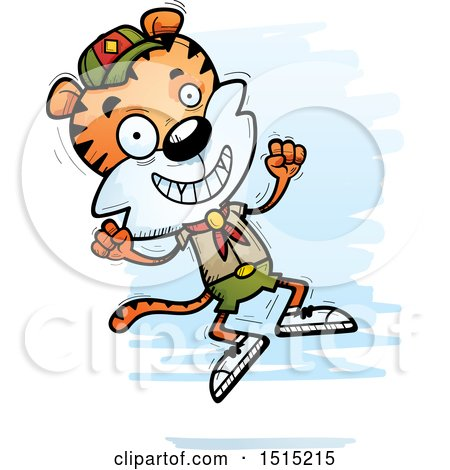 Clipart of a Jumping Male Tiger Scout - Royalty Free Vector Illustration by Cory Thoman