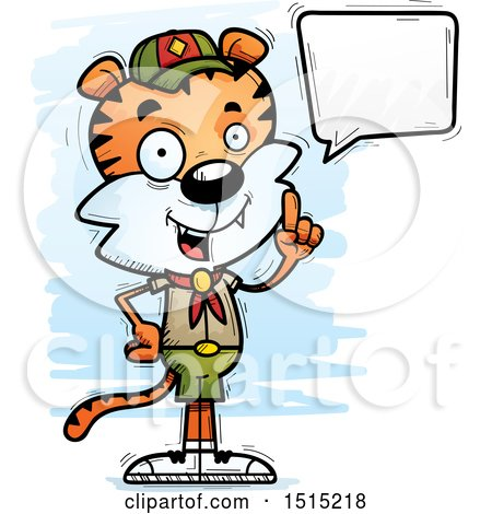 Clipart of a Talking Male Tiger Scout - Royalty Free Vector Illustration by Cory Thoman