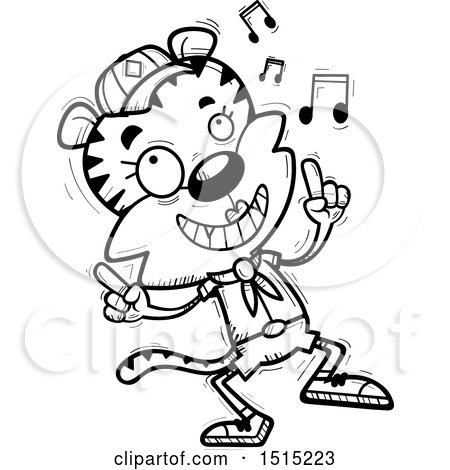 Clipart of a Black and White Happy Dancing Female Tiger Scout - Royalty Free Vector Illustration by Cory Thoman