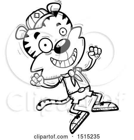 Clipart of a Black and White Jumping Male Tiger Scout - Royalty Free Vector Illustration by Cory Thoman