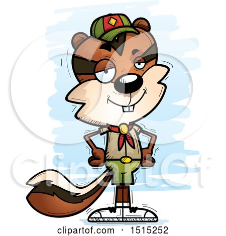Clipart of a Confident Male Chipmunk Scout - Royalty Free Vector Illustration by Cory Thoman