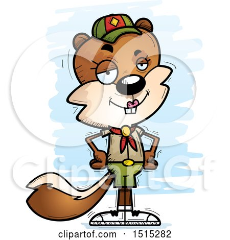 Clipart of a Confident Female Squirrel Scout - Royalty Free Vector Illustration by Cory Thoman