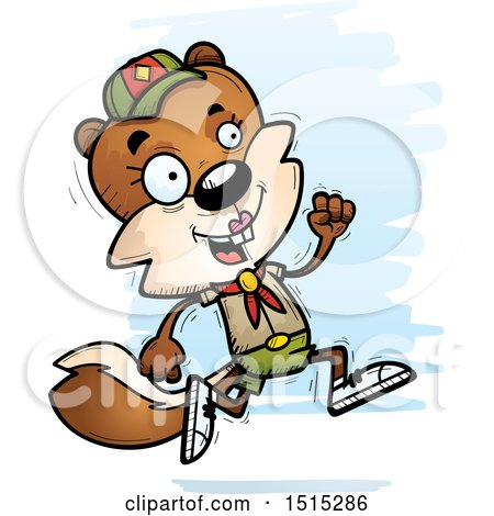 Clipart of a Running Female Squirrel Scout - Royalty Free Vector Illustration by Cory Thoman