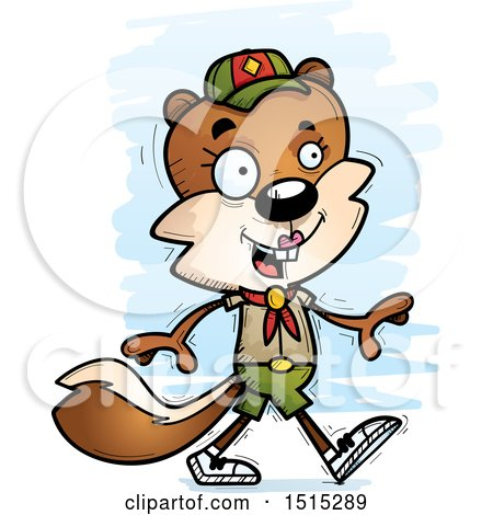 Clipart of a Walking Female Squirrel Scout - Royalty Free Vector Illustration by Cory Thoman