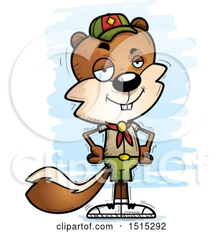 Clipart of a Confident Male Squirrel Scout - Royalty Free Vector Illustration by Cory Thoman