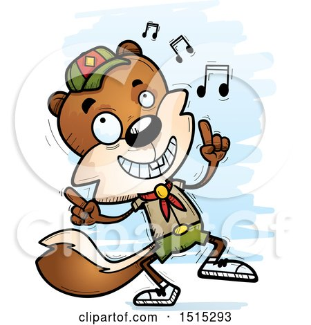 Clipart of a Happy Dancing Male Squirrel Scout - Royalty Free Vector Illustration by Cory Thoman