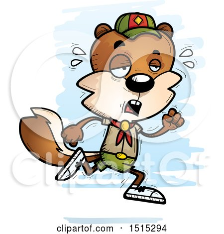 Clipart of a Tired Running Male Squirrel Scout - Royalty Free Vector Illustration by Cory Thoman
