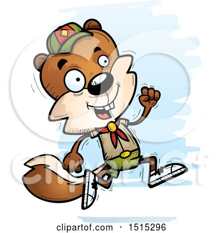 Clipart of a Running Male Squirrel Scout - Royalty Free Vector Illustration by Cory Thoman