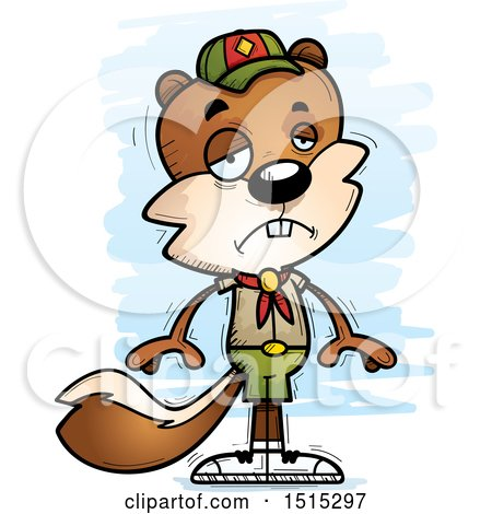 Clipart of a Sad Male Squirrel Scout - Royalty Free Vector Illustration by Cory Thoman