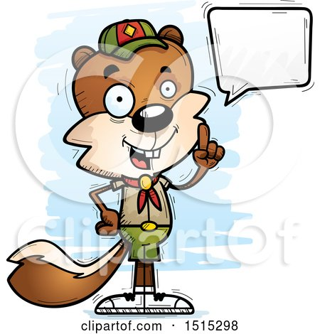 Clipart of a Talking Male Squirrel Scout - Royalty Free Vector Illustration by Cory Thoman