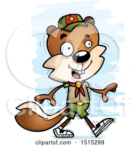 Clipart of a Walking Male Squirrel Scout - Royalty Free Vector Illustration by Cory Thoman