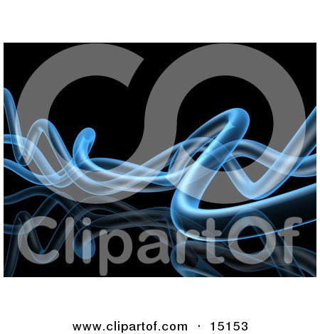 Wavy Blue Transparent Pipes Twisting Over a Black Background and Reflective Surface Clipart Graphic Illustration by 3poD