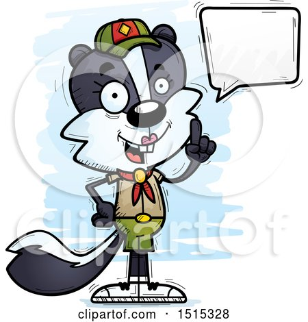 Clipart of a Talking Female Skunk Scout - Royalty Free Vector Illustration by Cory Thoman