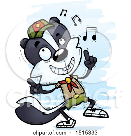 Clipart of a Happy Dancing Male Skunk Scout - Royalty Free Vector Illustration by Cory Thoman
