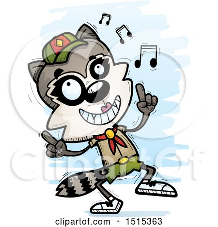 Clipart of a Happy Dancing Female Raccoon Scout - Royalty Free Vector Illustration by Cory Thoman