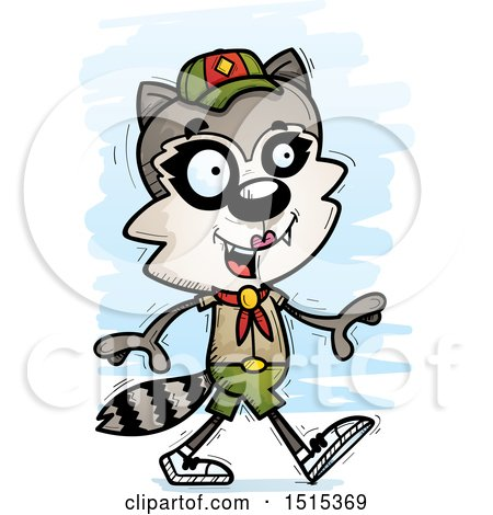 Clipart of a Walking Female Raccoon Scout - Royalty Free Vector Illustration by Cory Thoman