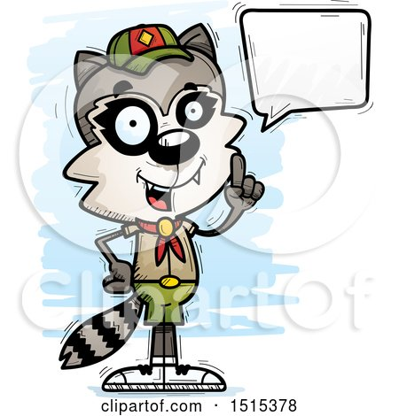 Clipart of a Talking Male Raccoon Scout - Royalty Free Vector Illustration by Cory Thoman