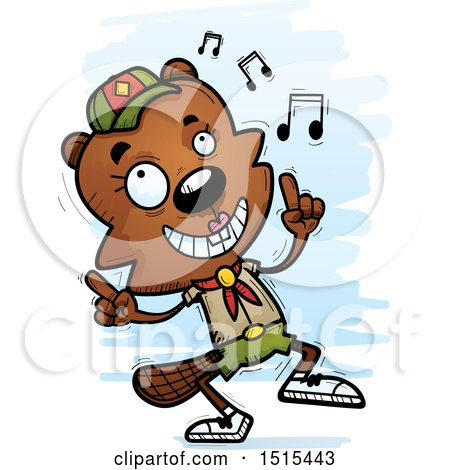 Clipart of a Happy Dancing Female Beaver Scout - Royalty Free Vector Illustration by Cory Thoman